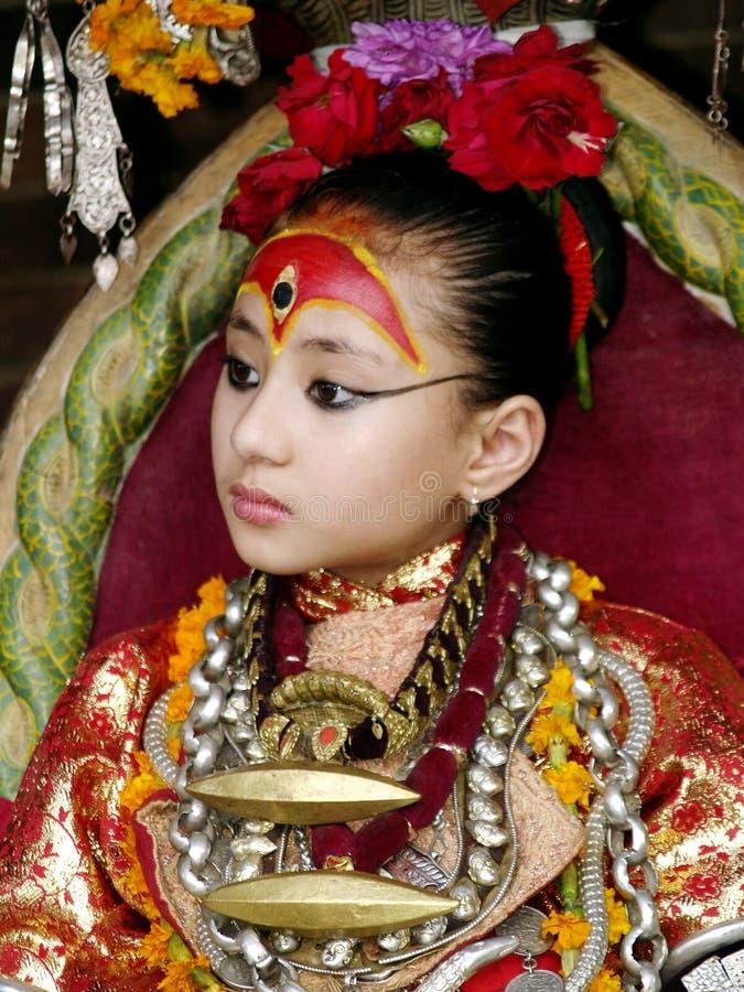 The Living Goddess Kumari royalty free stock photo