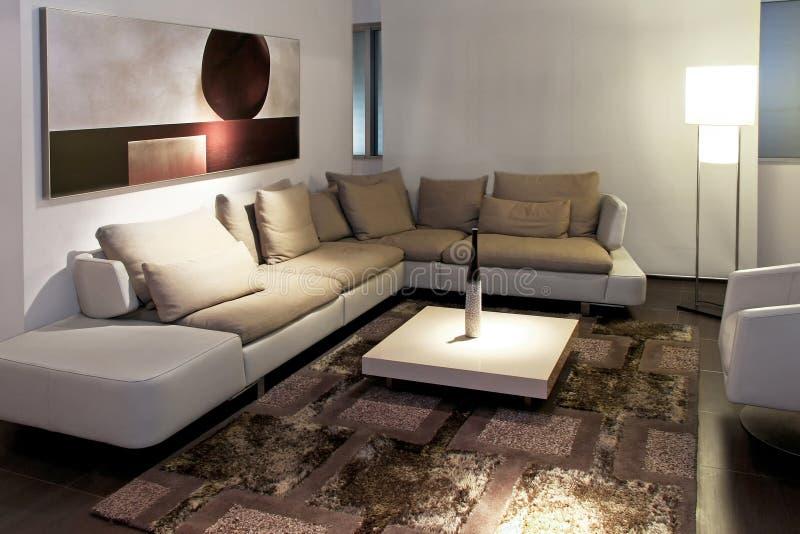 Living gray angle. Gray living room with big sitting area royalty free stock photography