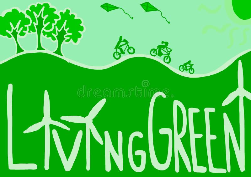 Living green. Image of living green world with respect for ecology vector illustration