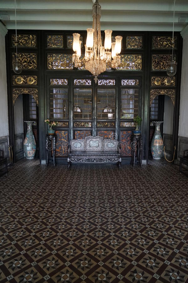 Living Hall at the Cheong Fatt Tze Mansion stock photos