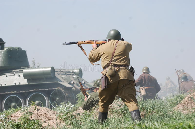 Living history.WWII. Historical reenactment in Kiev.Living history royalty free stock photography