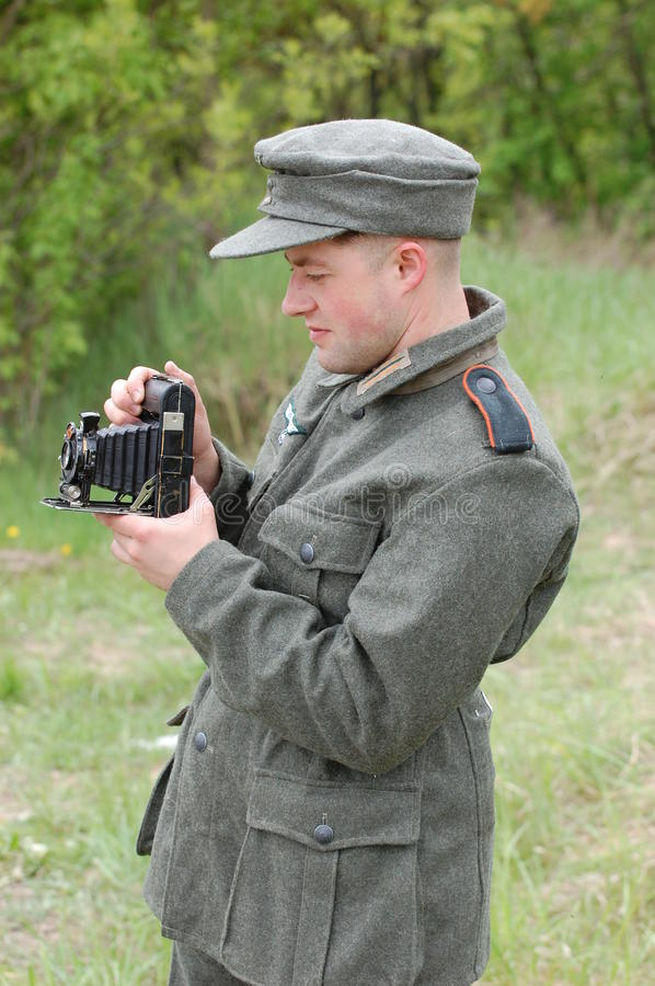 Living history.WWII. Historical reenactment in Kiev.Living history royalty free stock photo