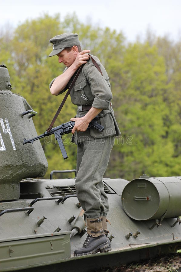 Living history.WWII. Historical reenactment in Kiev.Living history stock photo