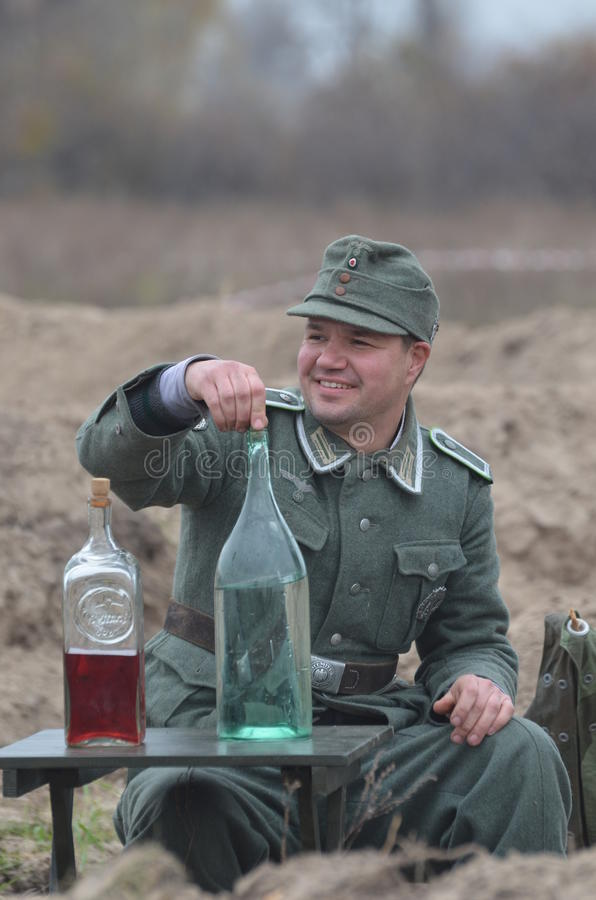 Living history.WWII. Historical reenactment in Kiev.Living history royalty free stock photos