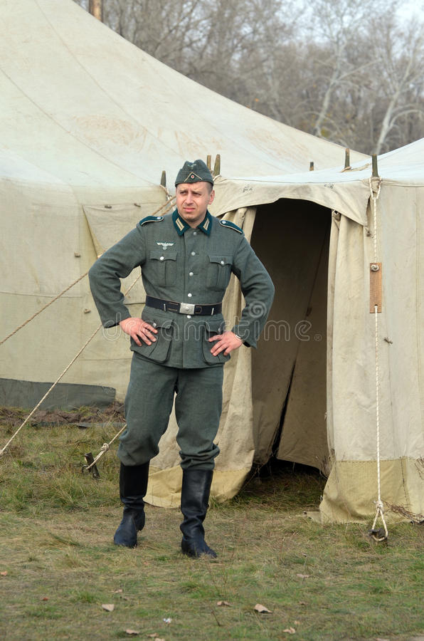Living history.WWII. Historical reenactment in Kiev.Living history royalty free stock image