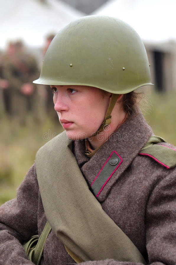 Living history.WWII. Historical reenactment in Kiev.Living history stock photography