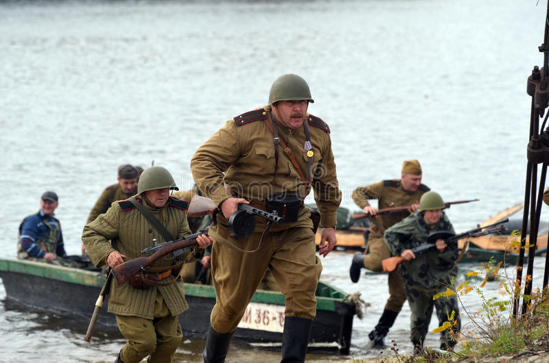 Living history.WWII. Historical reenactment in Kiev.Living history royalty free stock images