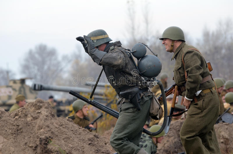 Living history.WWII. Historical reenactment in Kiev.Living history stock image
