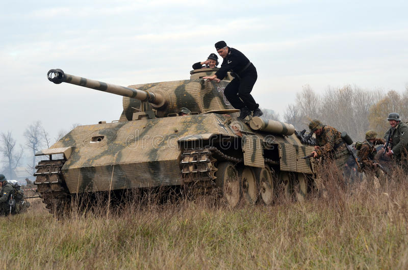 Living history.WWII. Historical reenactment in Kiev.Living history stock photos