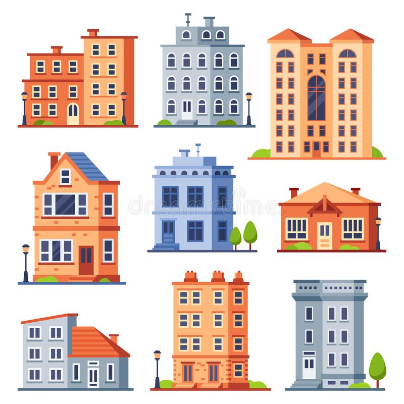 Living house buildings. Cottage houses exterior, condominium apartment building and modern cottages exteriors flat. Living house buildings. Cottage houses stock illustration