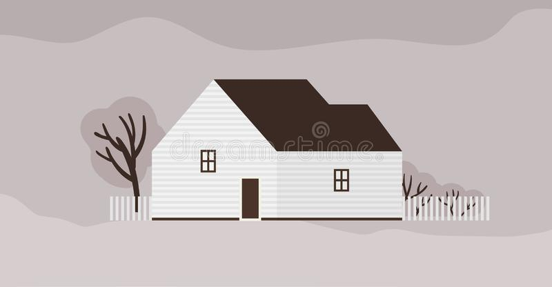 Living house or cottage of Scandinavian architecture. Suburban residential building with fence. Modern town residence or royalty free illustration