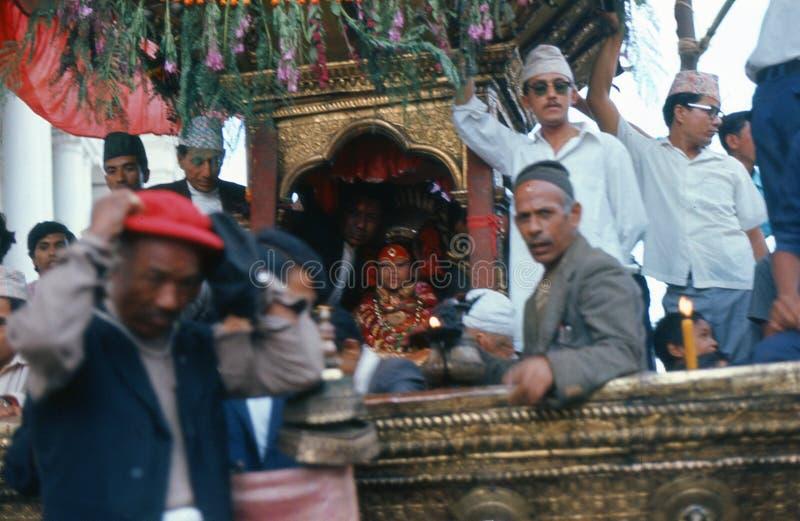 1975. Nepal. Living goddess. Katmandu. royalty free stock photography