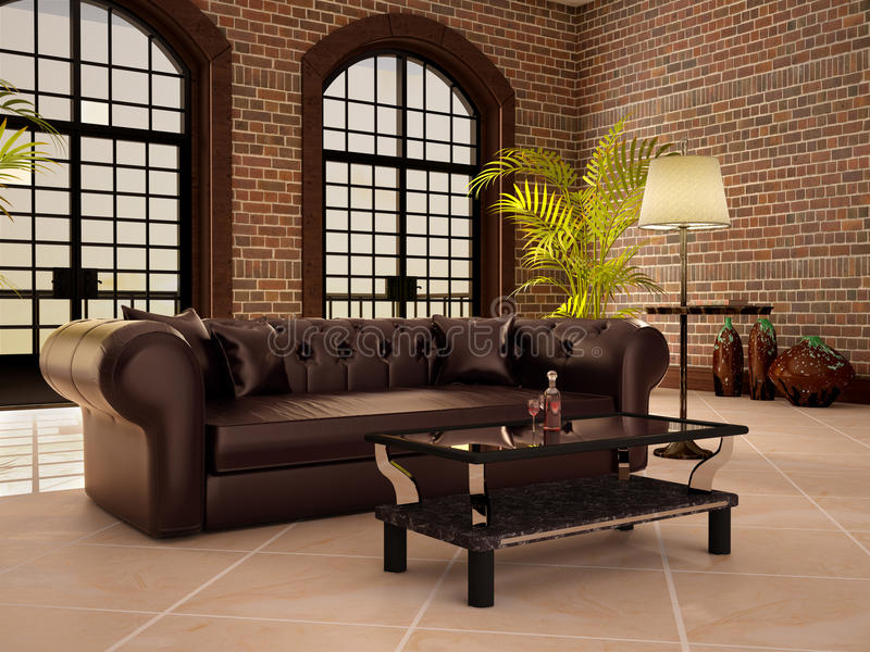 Living in a loft style with large arched windows. 3d illustration stock illustration