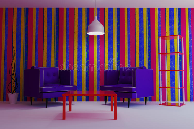 Living in a modern style with purple armchairs. royalty free stock image