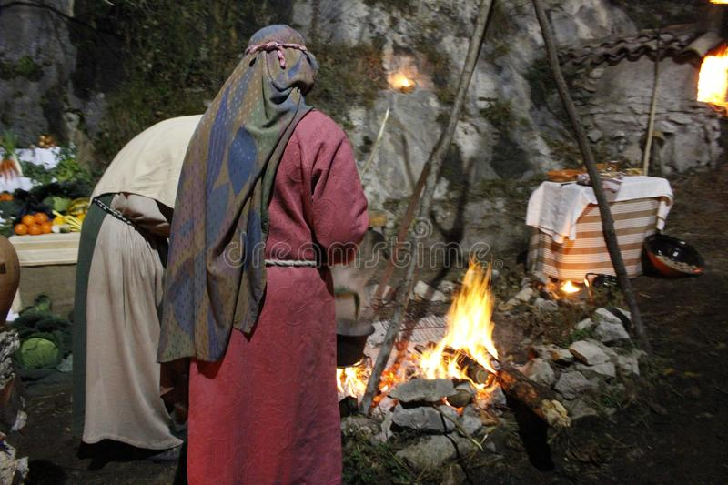 Living nativity scene on Genga,Italy royalty free stock images