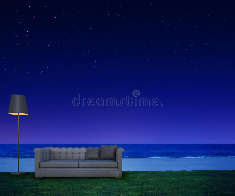 Living on night beach with stars and sea view. 3d rendering of sofa and lamp on green grass vector illustration
