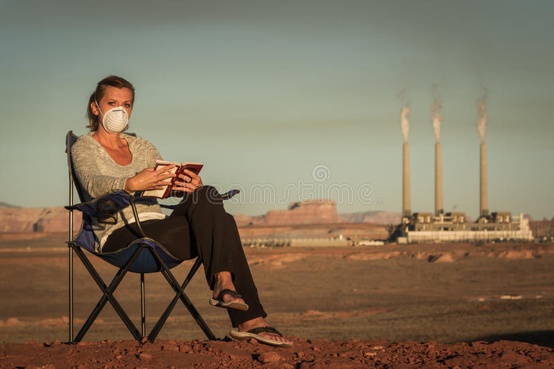 Living with pollution stock image