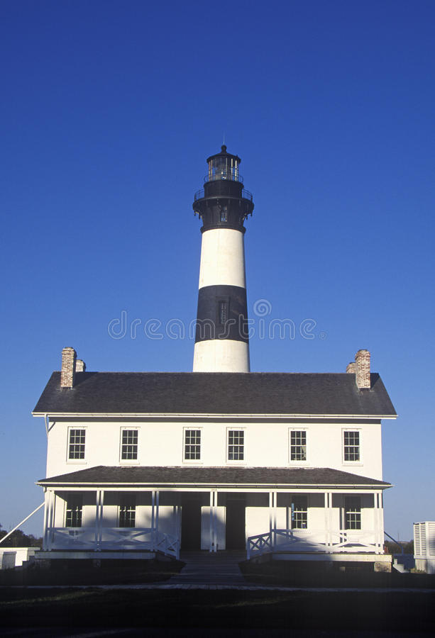 Living quarters and visitors center of Bodie Island Lighthouse on Cape Hatteras National Seashore, NC royalty free stock photography