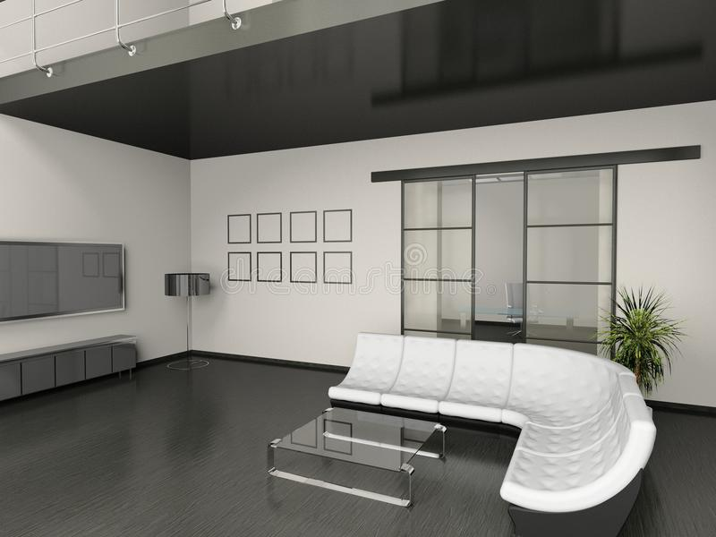 Living room. Modern interior of living room 3D royalty free stock photo