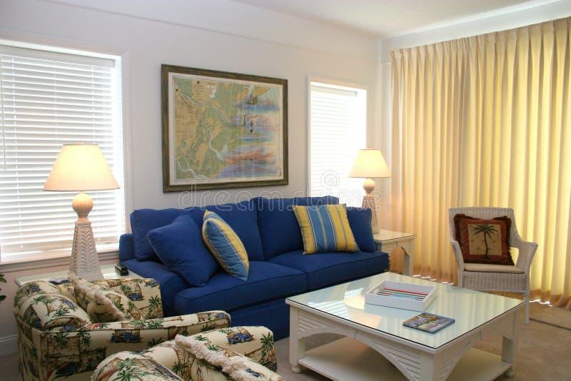 Living Room. Nice living room in coastal condo stock photos