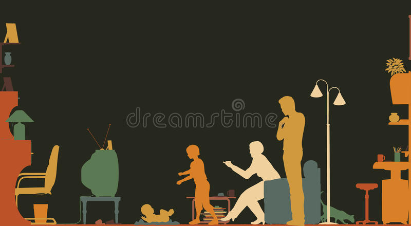 Download Living room stock vector. Image of lifestyle, housecat - 17835339