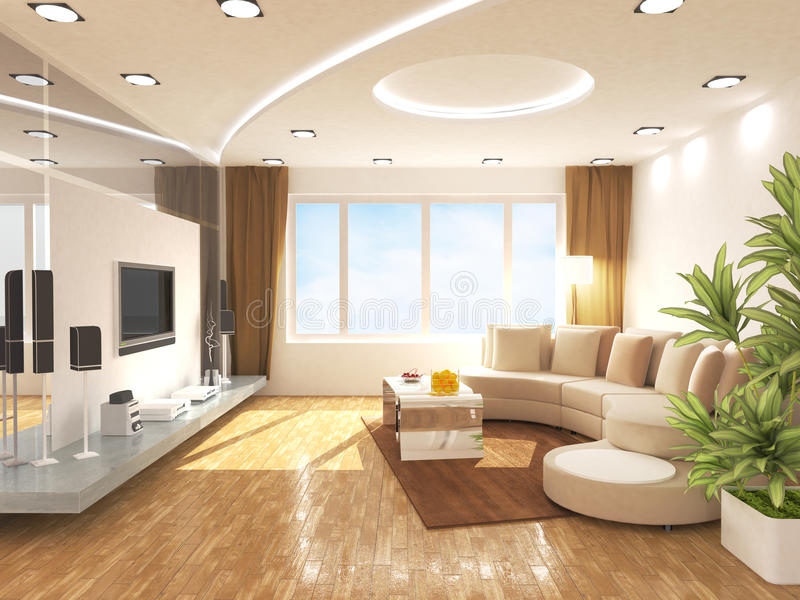 Living room. Modern living room design in 3D rendering vector illustration