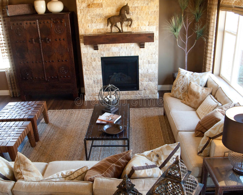 Living Room. Decorated in a western fashion stock photos