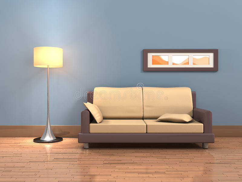 Living room. Rendering of a living room with a sofa and a floor lamp. Digital illustration