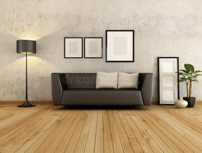Living room. Brown couch with cushion against old wall in a living room - rendering