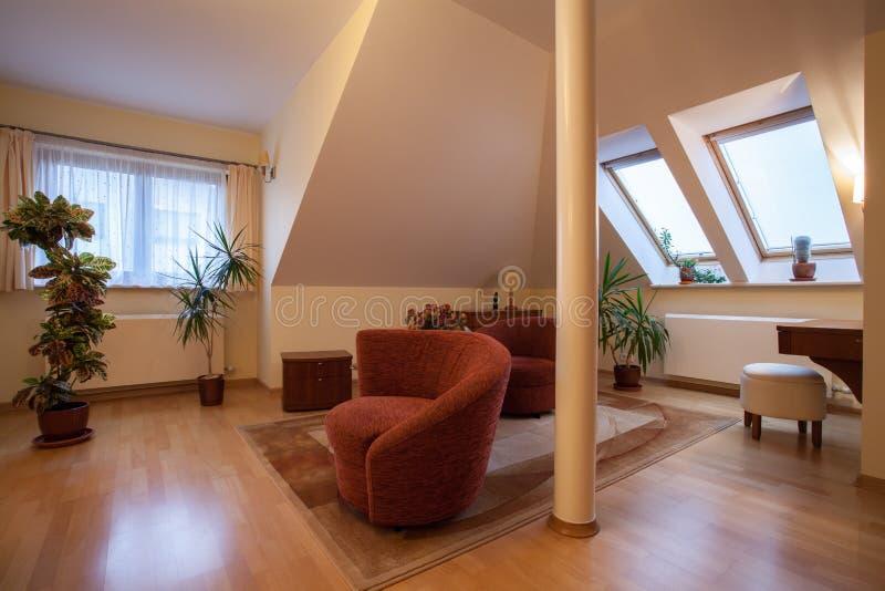 Download Living room stock photo. Image of armchair, door, attic - 28022878
