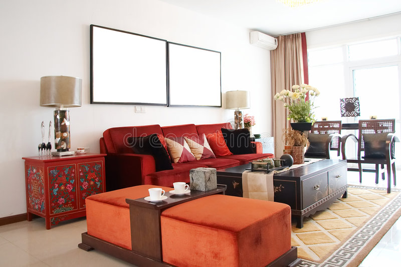 Living room. With red sofa,chinese style stock photo
