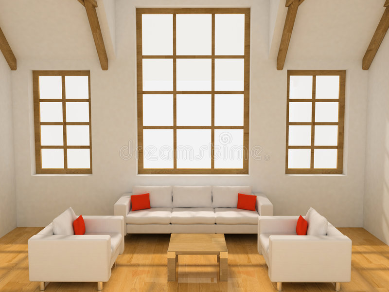 Living room. Two armchairs and sofa in the living room (3D royalty free stock photos