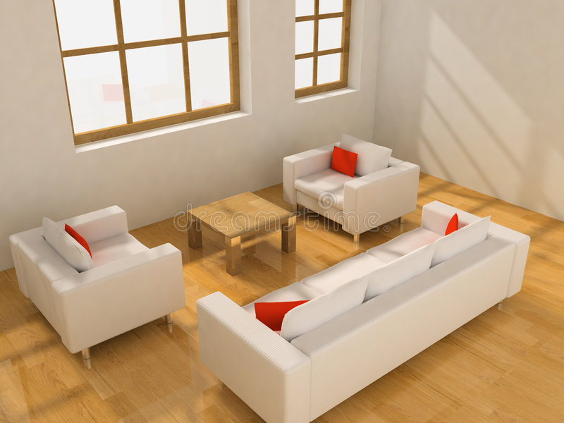 Living room. Two armchairs and sofa in the living room (3D stock photography