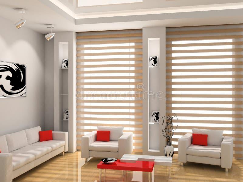Living room. Modern interior of living room 3D stock illustration