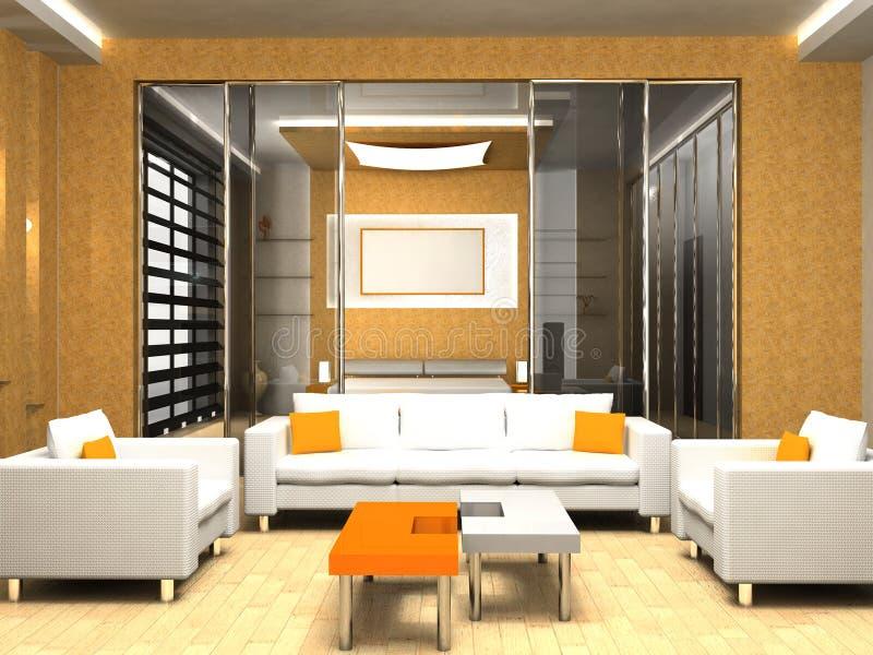 Living room. Modern interior of living room 3D stock photos