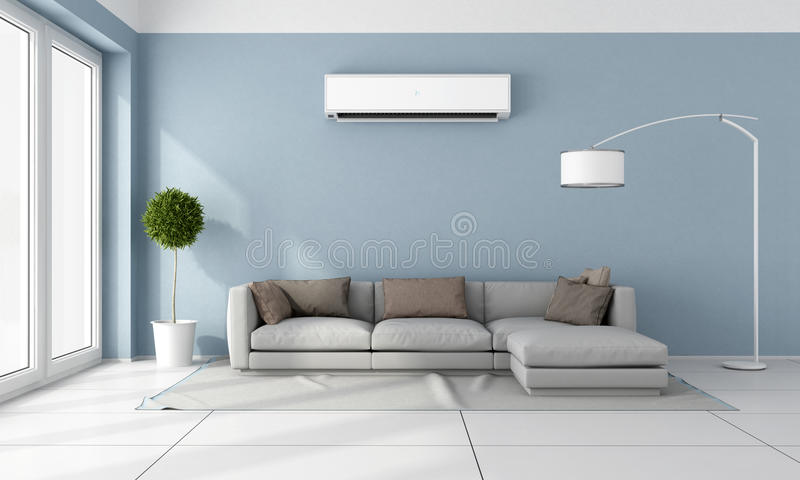 Living room with air conditioner. Blue living room with gray sofa and air conditioner on wall - 3D Rendering stock illustration