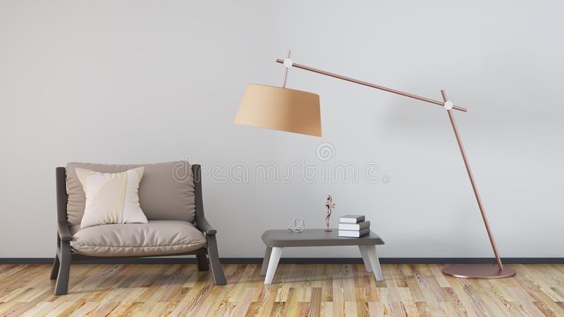 Living room with armchair, coffee table 3d rendering. Living room with armchair, coffee table and lamp, 3d rendering stock illustration
