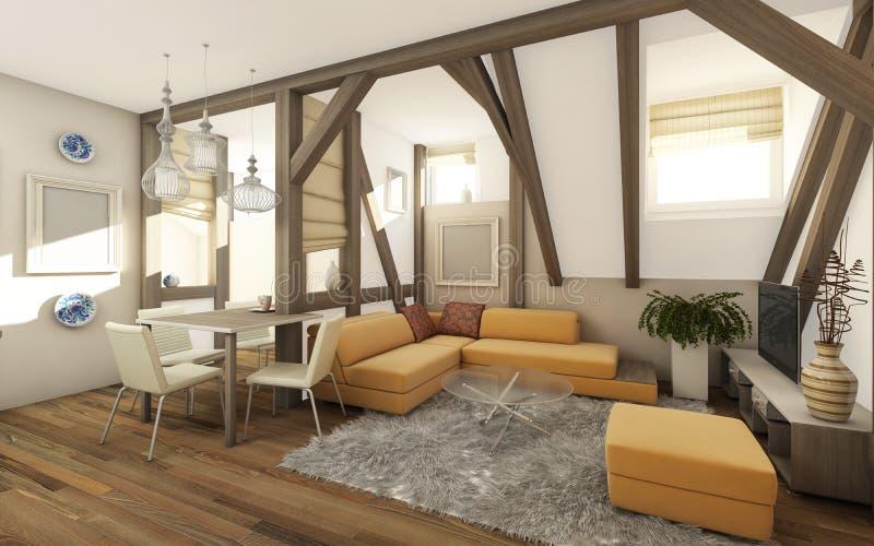 Living Room Attic vector illustration