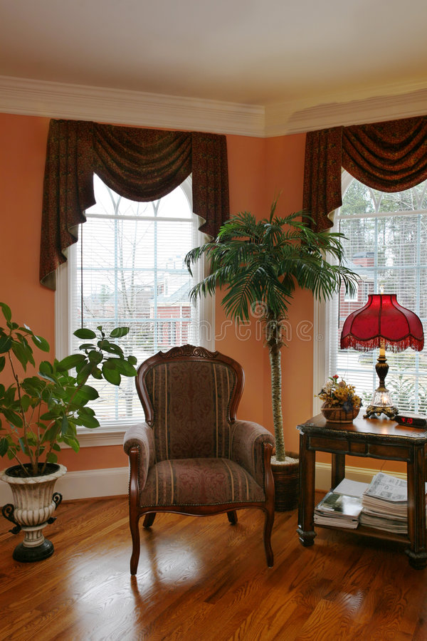 Living Room with Bay Window royalty free stock photography