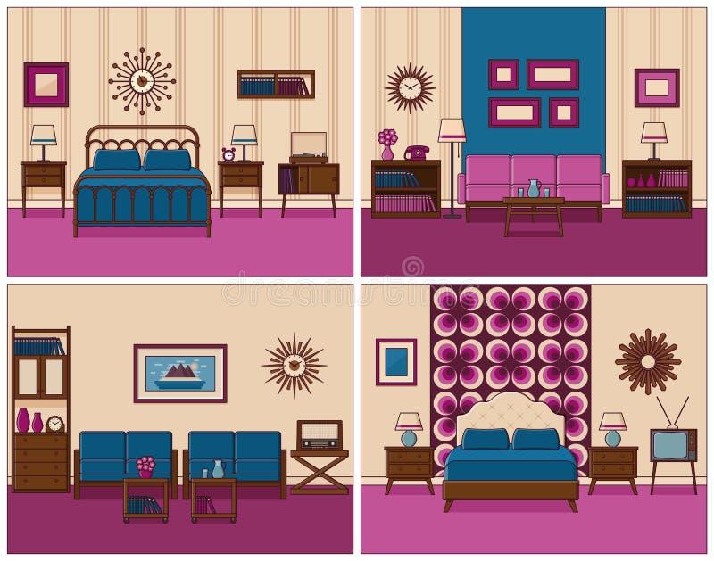 Room Interiors In Flat Line Art Design. Vector Illustration. Stock ...
