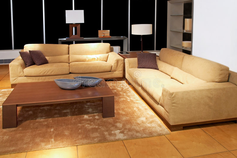 Living room brown stock photography