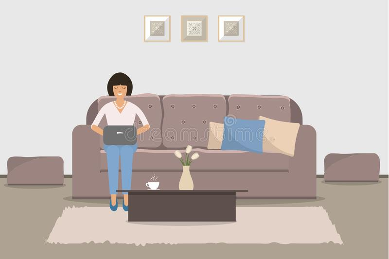 Living room with brown furniture. A young woman is sitting. On the sofa with a laptop. There is also a coffee table in the picture. Vector illustration royalty free illustration