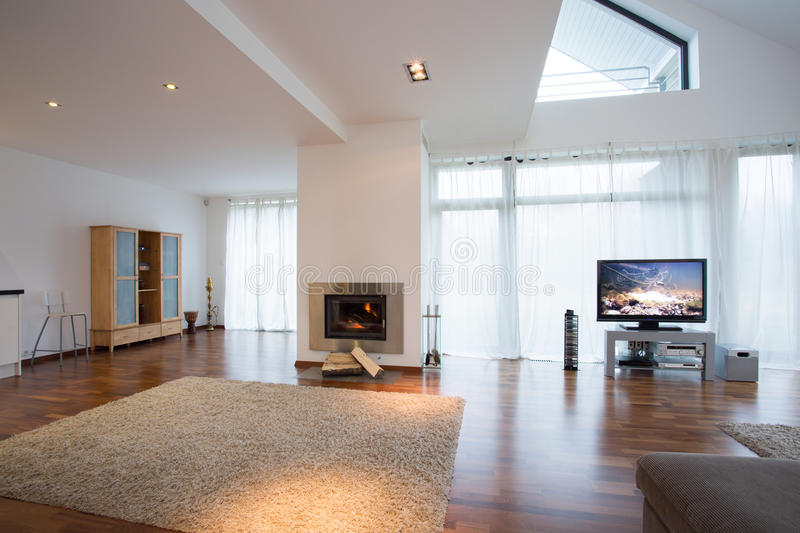 Living room with carpet stock image