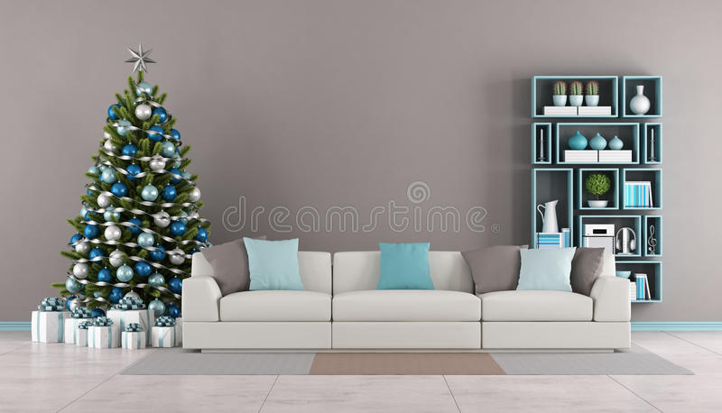 Living room with christmas tree royalty free illustration