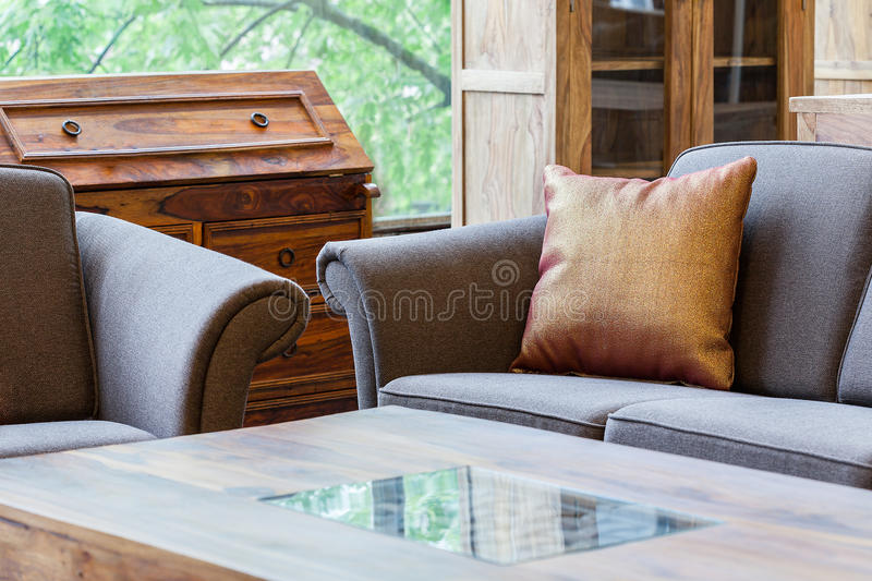 Living room with a coffe table stock photography