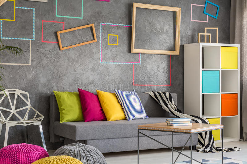Living room with concrete wall stock photos