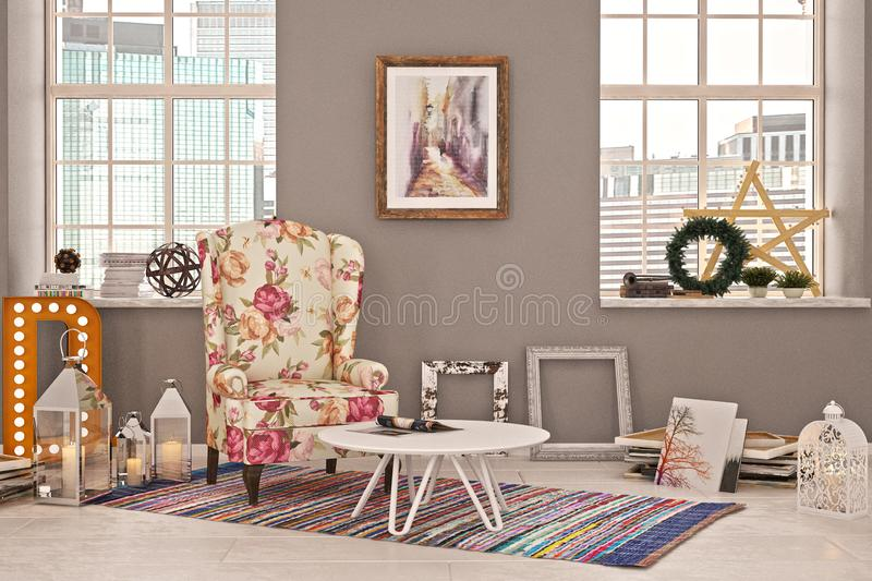 Living room or a corner in photostudio with christmas decoration and beautiful flower armchair royalty free stock image