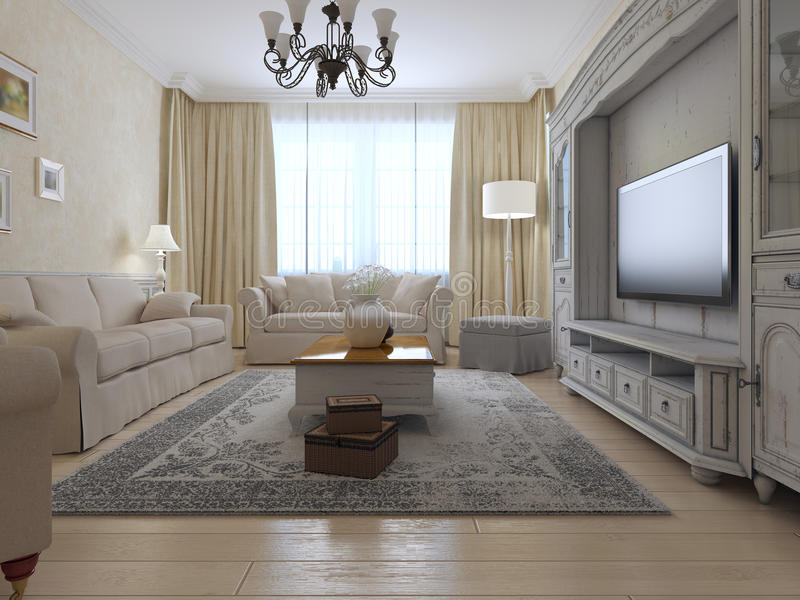 Living room country style. Bright interior of room with large window, exclusive wall system and soft furniture. 3D render royalty free stock photography