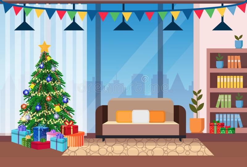 Living room decorated merry christmas happy new year pine tree home interior decoration winter holiday concept flat stock illustration