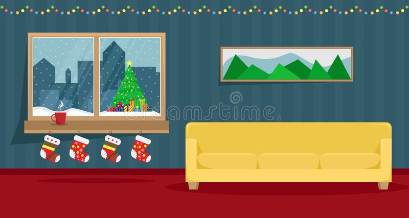 Living room decorated for the New Year. Christmas window stock illustration